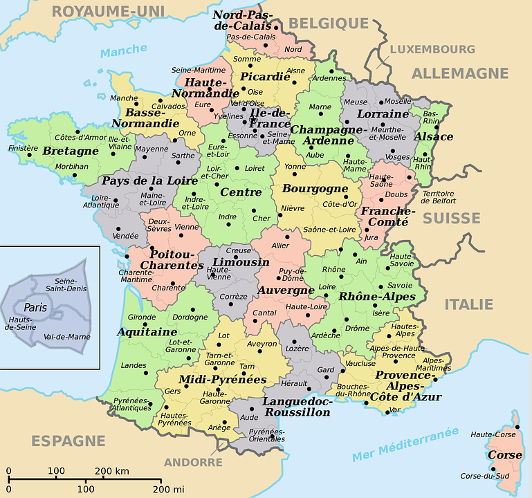 Map Of France With Key.French